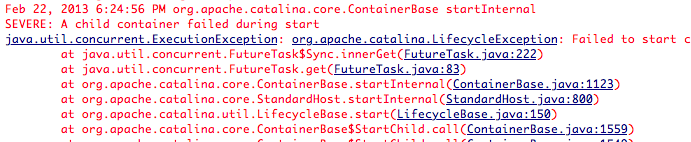 LifeCycle Exception iCrunch java.util.concurrent.ExecutionException: org.apache.catalina.LifecycleException?