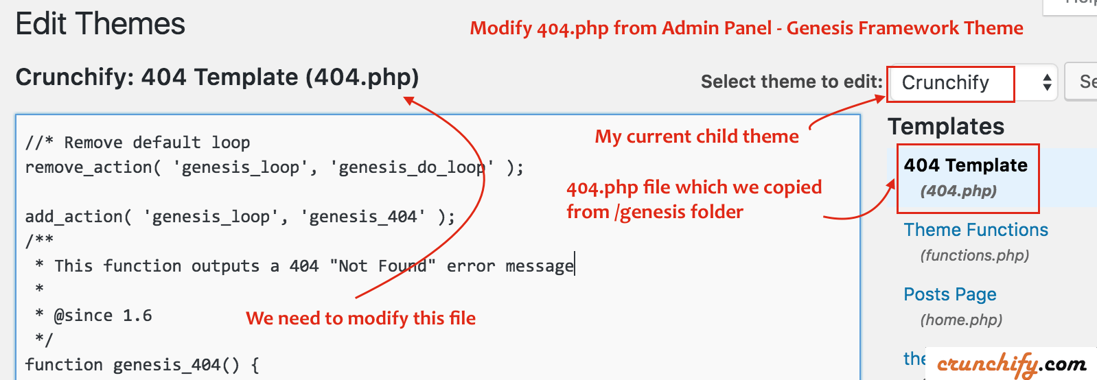 Modify 404.php from Admin Panel - Crunchify Tips