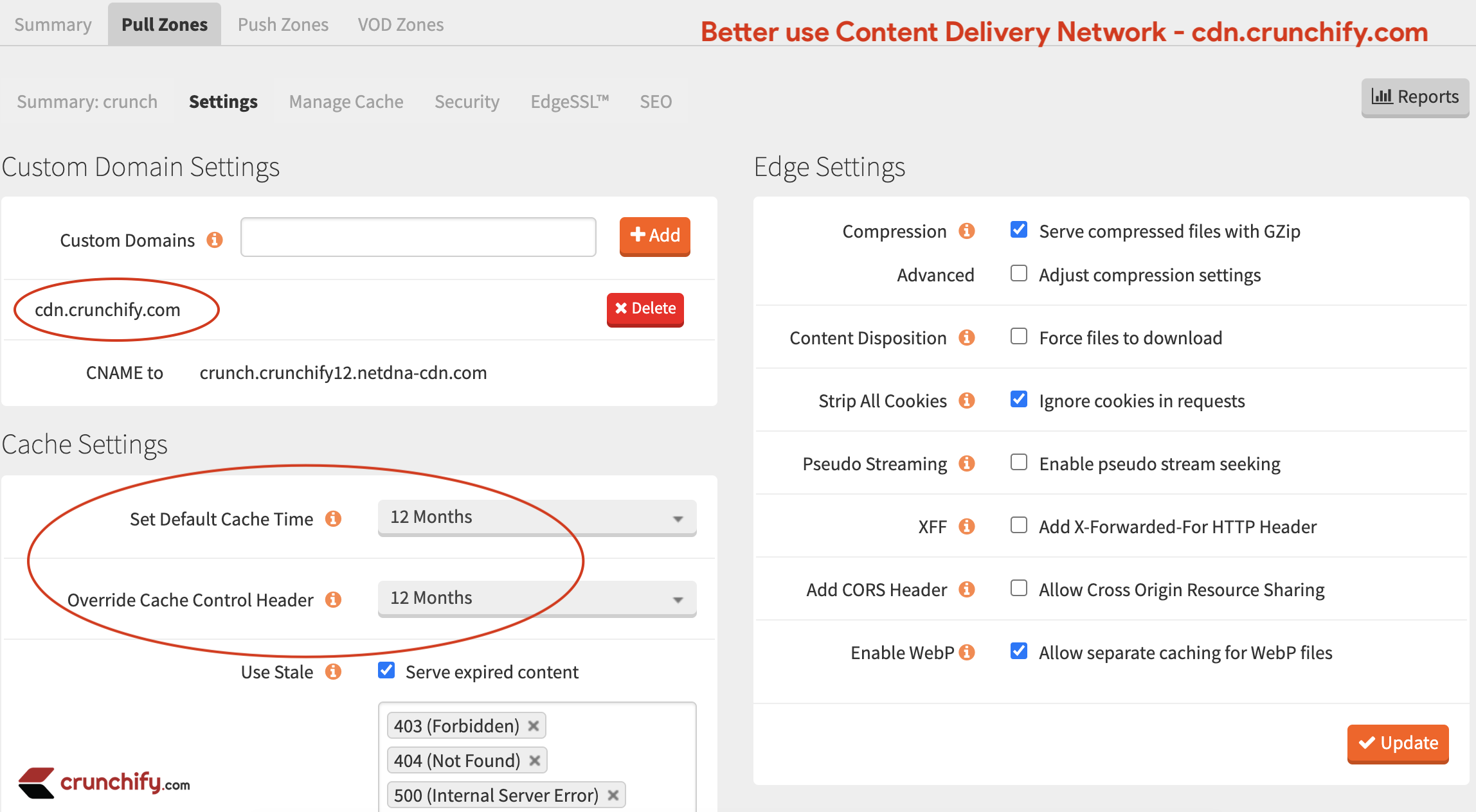 Use Content Delivery Network - cdn.crunchify.com
